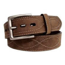 G Bar D Stitched Leather Belt (For Men) in Crazyhorse Brown - Closeouts