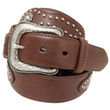 G Bar D Studded Leather Belt (For Men) in Brown - Closeouts