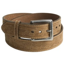 G Bar D Texas Rose Embossed Belt - Leather (For Men) in Crazy Horse Brown - Closeouts