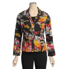 Gabriella Molinari Printed Jacket - Stretch Cotton, Convertible Sleeve (For Women) in Black Multi - Closeouts