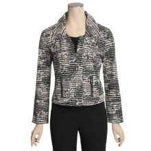 Gabriella Molinari Printed Jacket - Stretch Cotton, Zip Front (For Women) in Natural/Navy - Closeouts