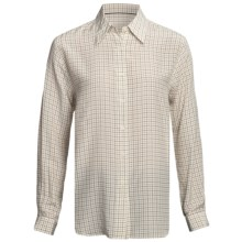 Gabriella Molinari Silk Tattersall Shirt - Long Sleeve (For Women) in Tan/Beige - Closeouts