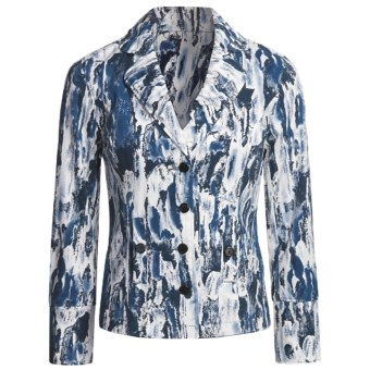 Gabriella Molinari Watercolor Print Jacket (For Women) in White/Navy