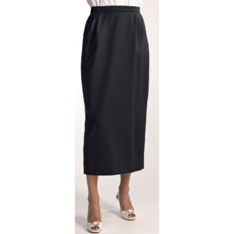 Gabriella Molinari Worsted Wool Skirt - Long (For Petite Women) in Navy