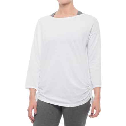 Gaiam Bryn Slouchy T-Shirt - Boat Neck, 3/4 Sleeve (For Women) in Bright White - Closeouts