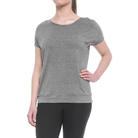 Gaiam Ellie Tunic Shirt - Crew Neck, Short Sleeve (For Women) in Flint Grey Heather