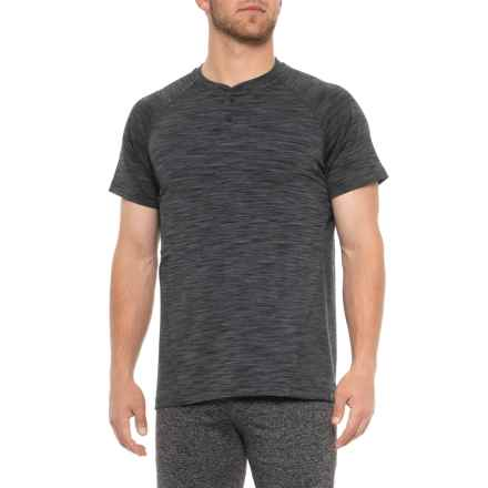950e0d7b9f Gaiam Embrace Henley Shirt - Short Sleeve (For Men) in Black Heather -  Closeouts