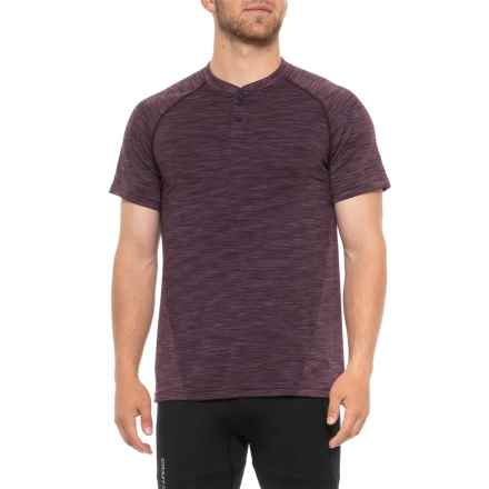 Gaiam Embrace Henley Shirt - Short Sleeve (For Men) in Moroccan Plum Heather - Closeouts