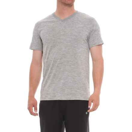 Gaiam Everyday Basic Shirt - V-Neck, Short Sleeve (For Men) in Sleet Heather - Closeouts