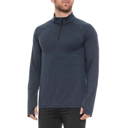 Gaiam Flexibility Shirt - Zip Neck, Long Sleeve (For Men) in Navy Heather - Closeouts