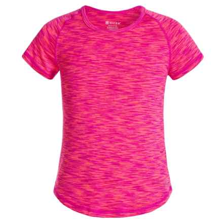 Gaiam Go Girl Space-Dyed Shirt - Short Sleeve (For Big Girls) in Hot Pink - Closeouts
