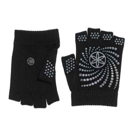 Gaiam Grippy Fingerless Yoga Gloves in Black/Grey - Closeouts