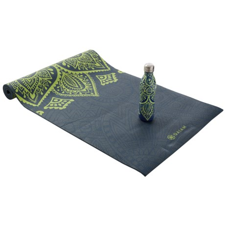 Gaiam Keep Your Cool Water Bottle and Yoga Mat Set - 6mm Mat in Asst