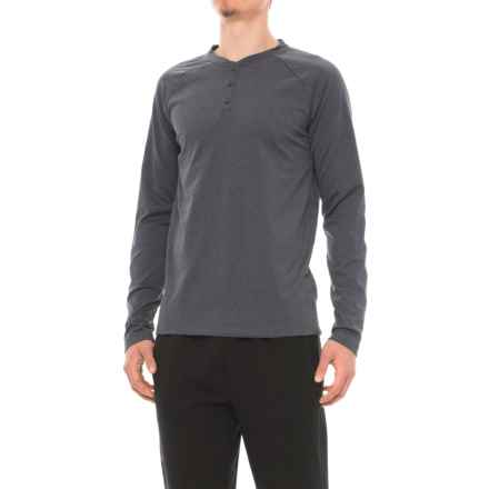 Gaiam Longevity Henley Shirt - Long Sleeve (For Men) in Ebony Heather - Closeouts