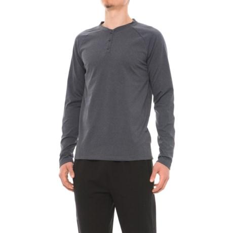 Gaiam Longevity Henley Shirt - Long Sleeve (For Men) in Ebony Heather