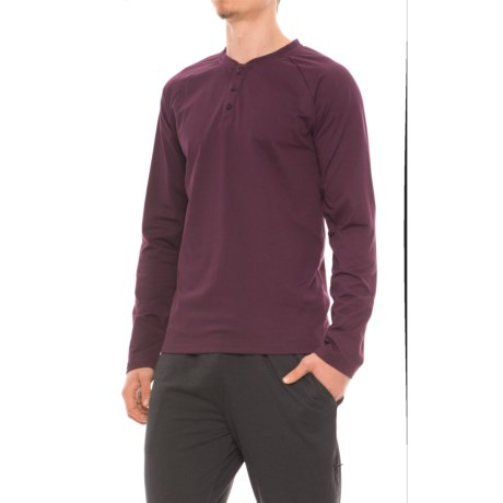 Gaiam Longevity Henley Shirt - Long Sleeve (For Men) in Moroccan Plum Heather