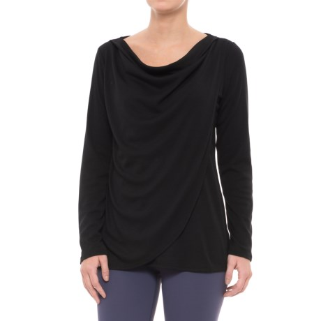 Gaiam Lyla Draped Shirt - Long Sleeve (For Women) in Black