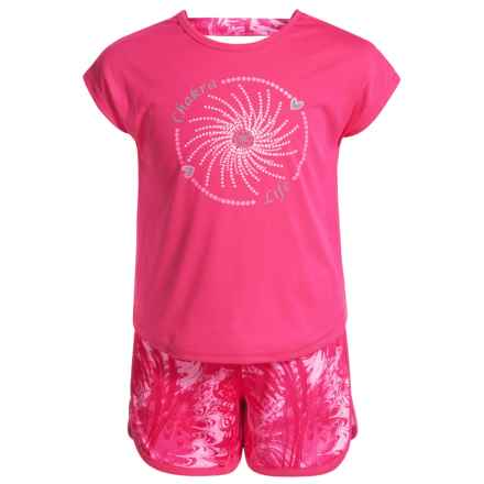 Gaiam Marble Feathers Shirt and Shorts Set - Short Sleeve (For Little Girls) in Hot Pink - Closeouts