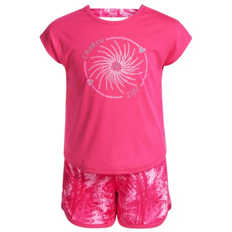 Gaiam Marble Feathers Shirt and Shorts Set - Short Sleeve (For Little Girls) in Hot Pink