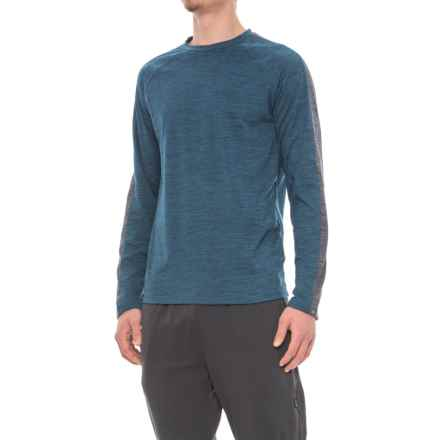 Gaiam Power Crew Shirt - Long Sleeve (For Men) in Blue Wing Teal Heather - Closeouts
