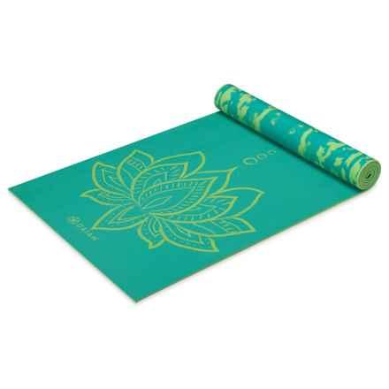 Gaiam Reversible Yoga Mat - 6mm in Turquoise Lotus - Closeouts