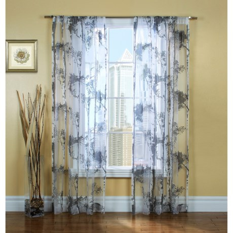 """Gala Collection Birches Sheer Burnout Curtains - 80x84"""", Pocket Top in Grey"""
