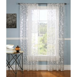 """Gala Collection Giraffe Burnout Sheer Curtains - 80x84"""", Pocket Top in White"""