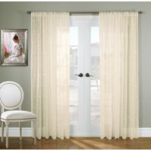 "Gala Collection Hathaway Embroidered Semi-Sheer Curtains - 108x84"", Rod Pocket Top in Cream - Closeouts"