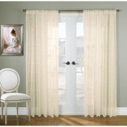 """Gala Collection Hathaway Embroidered Semi-Sheer Curtains - 108x84"""", Rod Pocket Top in White"""