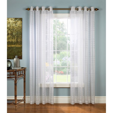 """Gala Collection Moire Check Sheer Curtains - 104x84"""", Grommet Top in White"""