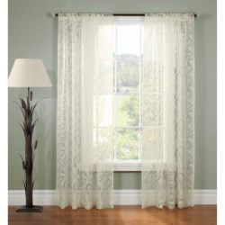 "Gala Collection Rosalee Burnout Sheer Curtains - 80x84"", Pocket Top in White"