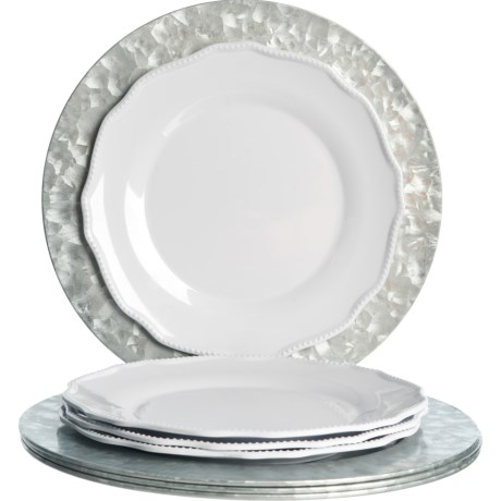 Galvanized Metal Chargers and Melamine Dinner Plates