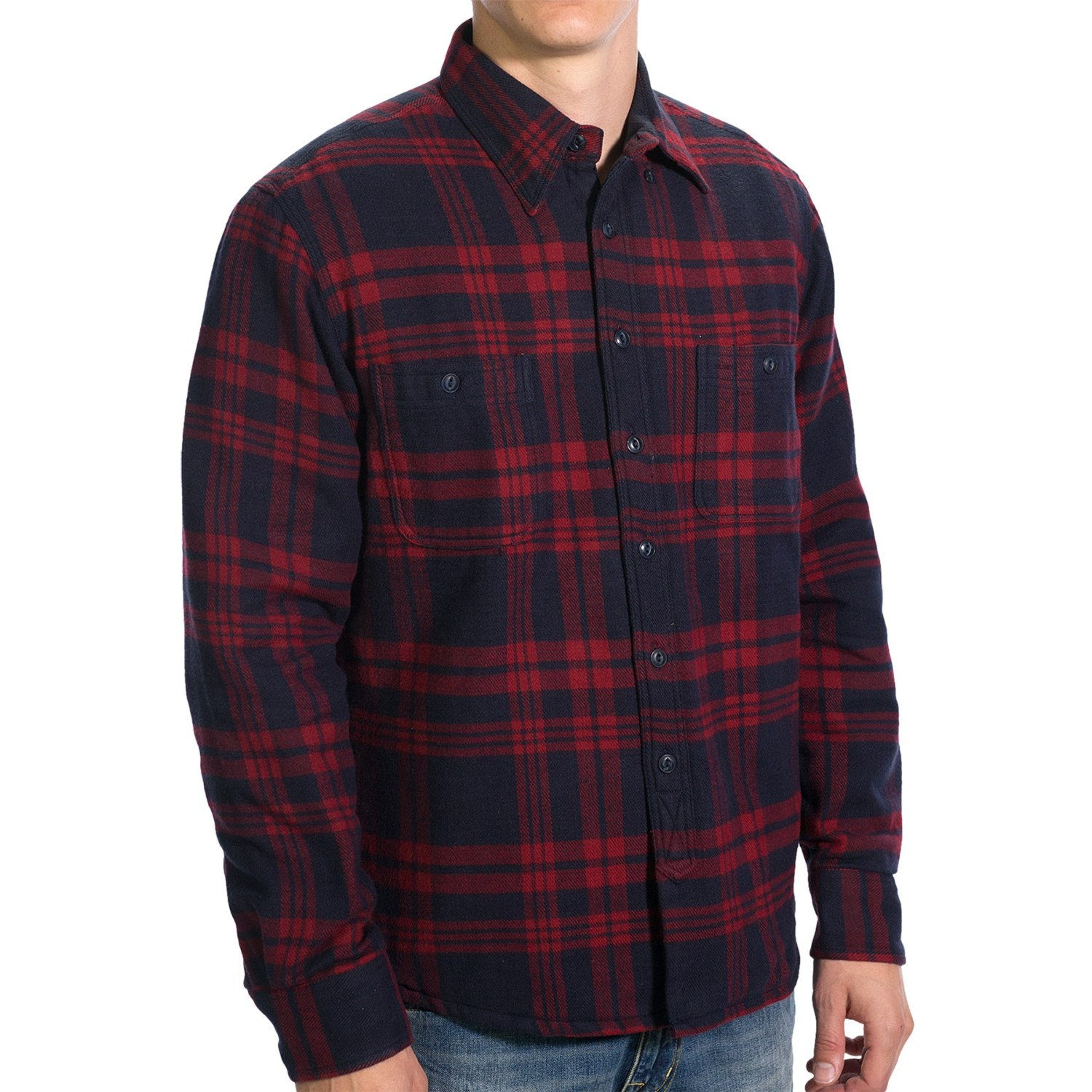 mens flannel shirt jacket with quilted lining full zip