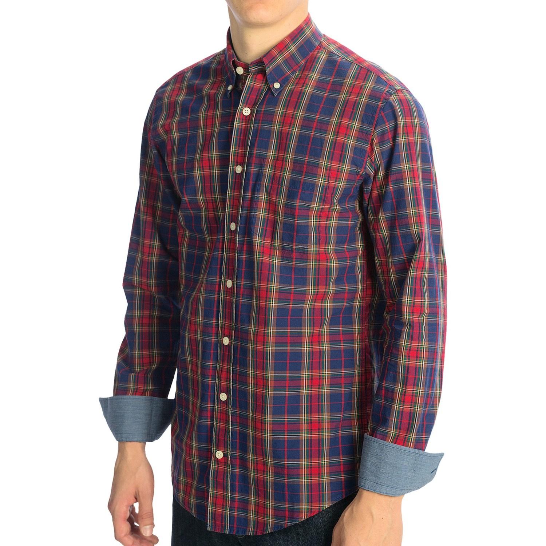 Gant plaid poplin shirt button down collar long sleeve for Long sleeve poplin shirt