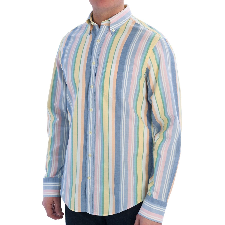 Gant P N Summer Oxford Multi Stripe Shirt Long Sleeve
