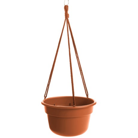 "Garden Scene Dura Cotta Hanging Flower Basket - 10"" in Terra Cotta"
