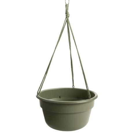 """Garden Scene Dura Cotta Hanging Flower Basket - 12"""" in Living Green"""