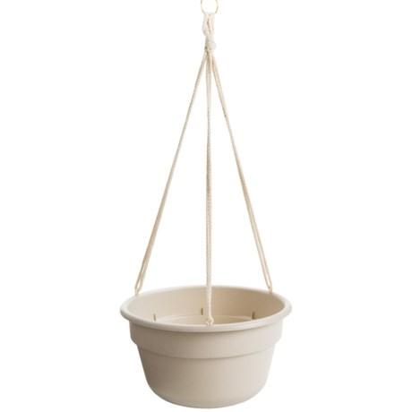 """Garden Scene Dura Cotta Hanging Flower Basket - 12"""" in Muslin Stone"""