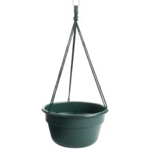 "Garden Scene Dura Cotta Hanging Flower Basket - 12"" in Wasabi Stone - Closeouts"