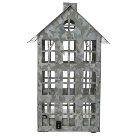 """Gardener's Eden Decorative Galvanized House with Led Lights - 6x6x10"""" in Silver - Closeouts"""