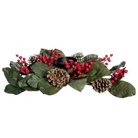 """Gardener's Eden Magnolia Leaf and Berry Three Candle Holder - 22x3"""" in Red/Green - Closeouts"""