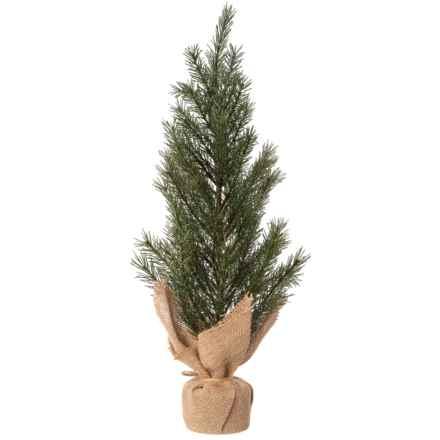 "Gardener's Eden Pine Christmas Tree in Burlap Base - 21"" in Green/Natural - Closeouts"