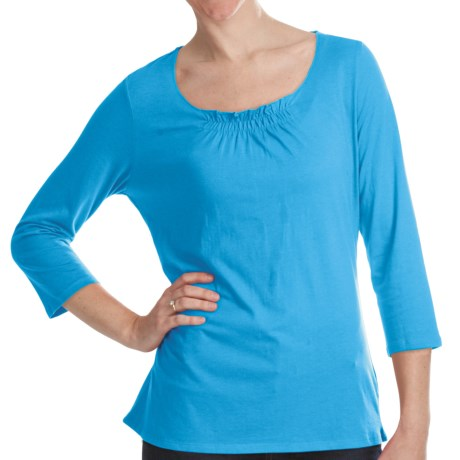 Gathered Neck Shirt - Cotton-Modal, 3/4 Sleeve (For Women) in Blue