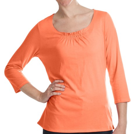 Gathered Neck Shirt - Cotton-Modal, 3/4 Sleeve (For Women) in Orange