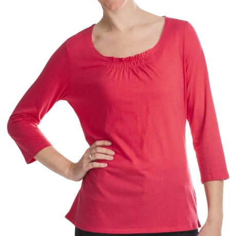 Gathered Neck Shirt - Cotton-Modal, 3/4 Sleeve (For Women) in Red