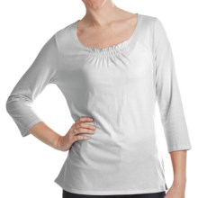 Gathered Neck Shirt - Cotton-Modal, 3/4 Sleeve (For Women) in White - 2nds