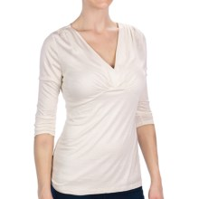 Gathered V-Neck Shirt - 3/4 Sleeve (For Women) in Ivory - 2nds