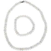 Gemstar Czech Crystal Rondelle Necklace - Matching Bracelet in Clear - Closeouts