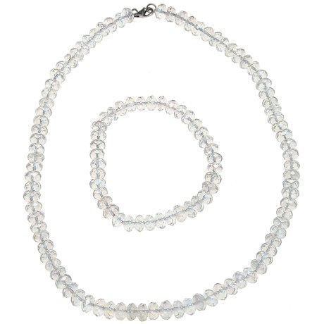 Gemstar Czech Crystal Rondelle Necklace - Matching Bracelet in Clear