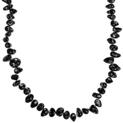 "Gemstar Dyed Crackle Shell Nugget Necklace - Endless, 35"" in Black"